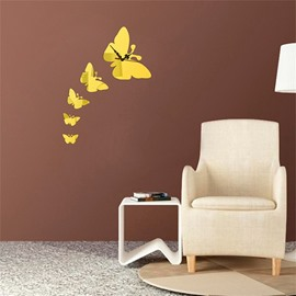 DIY Butterfly Shape 3 Color Simple Design 3D Acrylic DIY Specular Mute Wall Clock