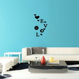 Love Letter Pattern 3 Color Simple Design 3D Acrylic DIY Specular Mute Wall Clock