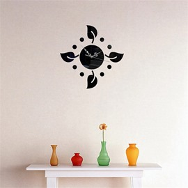 Creative Leaf Shape 3 Color Simple Design 3D Acrylic DIY Specular Mute Wall Clock