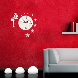 Fairy With Star Pattern 3 Color Simple Design 3D Acrylic DIY Specular Mute Wall Clock
