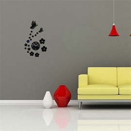 Butterfly And Flower Pattern 3 Color Simple Design 3D Acrylic DIY Specular Mute Wall Clock
