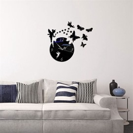 Fairy And Butterfly Pattern 3 Color Simple Design 3D Acrylic DIY Specular Mute Wall Clock