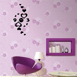 Creative Love Heart Pattern 3 Color Simple Design 3D Acrylic Pattern Specular Mute Wall Clock