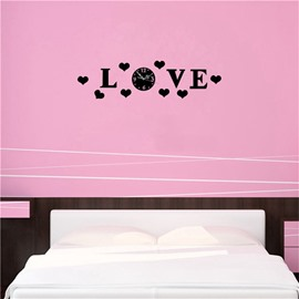Love Heart And Letters Pattern 3 Color Simple Design 3D Acrylic Pattern Specular Mute Wall Clock