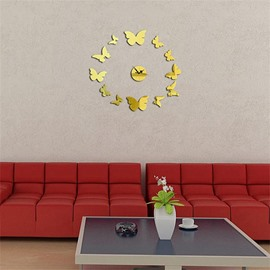 Butterfly Shape 3 Color Simple Design 3D Acrylic Pattern Specular Mute Wall Clock