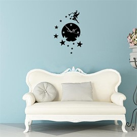 Round Shape And Fairy Pattern 3 Color Simple Design 3D Acrylic Pattern Specular Mute Wall Clock