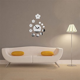 Creative Flower Shape 3 Color Simple Design 3D Acrylic Pattern Specular Mute Wall Clock