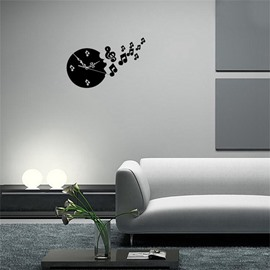 Creative Round Shape And Note 3 Color Simple Design 3D Acrylic Pattern Specular Mute Wall Clock
