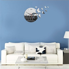 3 Color Simple Design 3D Acrylic Creative Birds Pattern Specular Mute Wall Clock