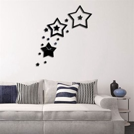3 Color Simple Design 3D Acrylic Creative Star Pattern Specular Mute Wall Clock