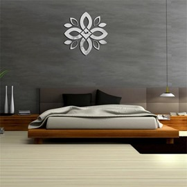 3 Color Simple Design 3D Acrylic Classic Flower Pattern Specular Mute Wall Clock