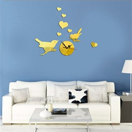 Funny Birds And Love Heart Pattern 3 Color Simple Design 3D Acrylic Specular Mute Wall Clock