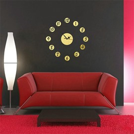 Classic Round Pattern 3 Color Simple Design 3D Acrylic Specular Mute Wall Clock