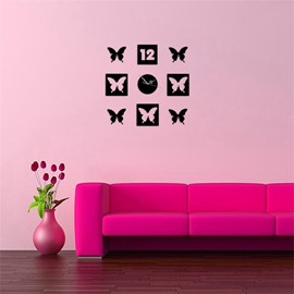 Creative Butterfly And Number Pattern 3 Color Simple Design 3D Acrylic Specular Mute Wall Clock