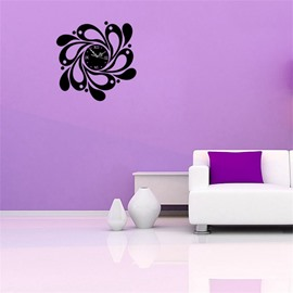 Creative Flower Pattern 3 Color Simple Design 3D Acrylic Specular Mute Wall Clock