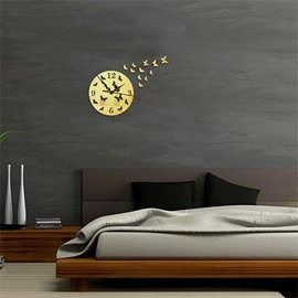 DIY Round Shape And Butterfly 3 Color Simple Design 3D Acrylic Specular Mute Wall Clock
