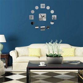 3 Color Simple Design Classic Number Pattern 3D Acrylic DIY Specular Mute Wall Clock