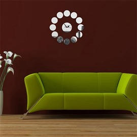 3 Color Simple Design Round Pattern 3D Acrylic DIY Specular Mute Wall Clock