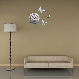 3 Color Simple Design Butterfly Pattern 3D Acrylic DIY Specular Mute Wall Clock