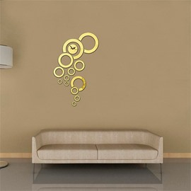 Creative Bubble Shape 3 Color Simple Design 3D Acrylic Specular Mute Wall Clock