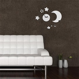 Creative Moon And Star Pattern 3 Color Simple Design 3D Acrylic Specular Mute Wall Clock