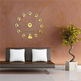 Creative Cats Pattern 3 Color Simple Design 3D Acrylic Specular Mute Wall Clock
