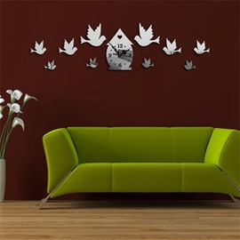 Funny Birds Pattern 3 Color Simple Design 3D Acrylic Specular Mute Wall Clock