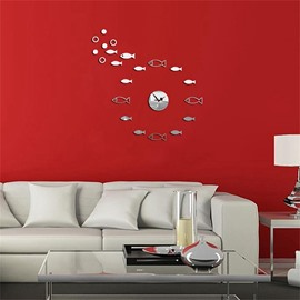 DIY Fish Pattern 3 Color Simple Design 3D Acrylic Specular Mute Wall Clock