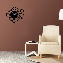 3 Color Funny Bubble Pattern 3D Acrylic Specular Mute Wall Clock