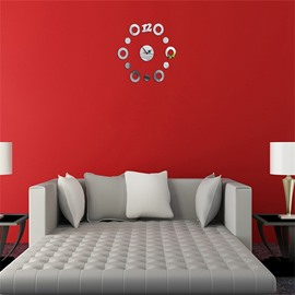 3 Color Simple Design Creative Round Shape Pattern 3D Acrylic DIY Specular Mute Wall Clock