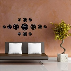 3 Color Simple Design DIY Round Shape Pattern 3D Acrylic Specular Mute Wall Clock