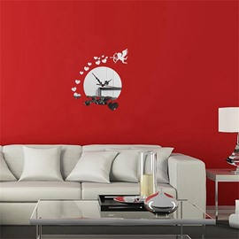 3 Color Simple Design Creative Cupid Pattern 3D Acrylic DIY Specular Mute Wall Clock