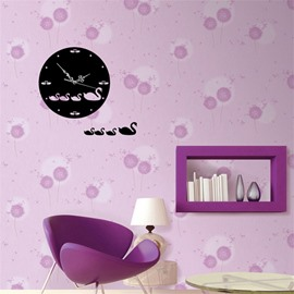 3 Color Simple Design Creative Duck Pattern 3D Acrylic DIY Specular Mute Wall Clock