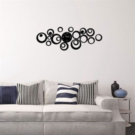 3 Color Simple Design DIY Round Shape 3D Acrylic Specular Mute Wall Clock
