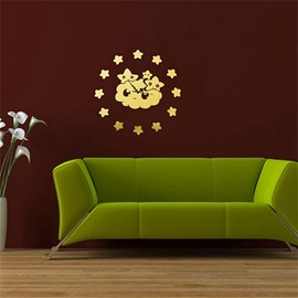Cute Cartoon Cloud Pattern 3 Color Simple Design 3D Acrylic DIY Specular Mute Wall Clock