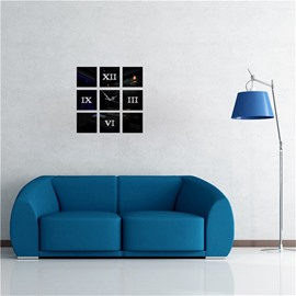 Creative Number Pattern 3 Color Simple Design 3D Acrylic DIY Specular Mute Wall Clock