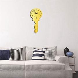 Creative Key Shape 3 Color Simple Design 3D Acrylic DIY Specular Mute Wall Clock
