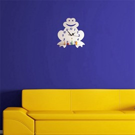 Creative Frog Pattern 3 Color Simple Design 3D Acrylic DIY Specular Mute Wall Clock