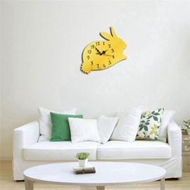 Cute Rabbit Shape 3 Color Simple Design 3D Acrylic DIY Specular Mute Wall Clock