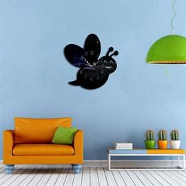 Funny Cartoon Bee Shape 3 Color Simple Design 3D Acrylic DIY Specular Mute Wall Clock