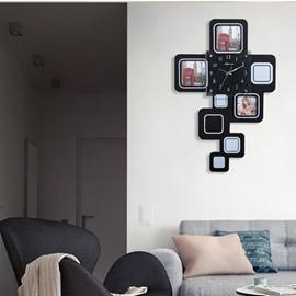 Black Rectangle Photo Frame Design MDF Digit Wall Clock