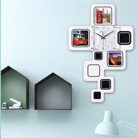 White Rectangle Photo Frame Design MDF Digit Wall Clock