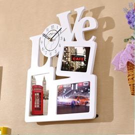 White Love Letter Photo Frame Design MDF Digit Wall Clock