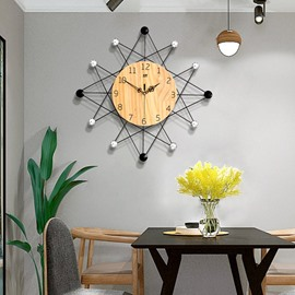 Creative Round Shape MDF Simple Design Battery Hanging Wall Clock