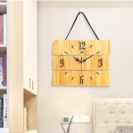 Creative Board Shape MDF Simple Design Battery Hanging Wall Clock