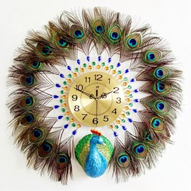 Iron and Diamonds Handmade Peacock Shape Battery Hanging Wall Clock