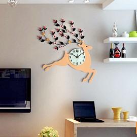 Creative Deer Shape MDF Diamante Battery Hanging Wall Clock