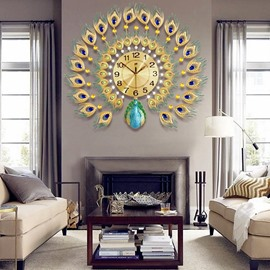 Peacock Shape Dial Iron and Diamonds Handmade Battery Hanging Wall Clock