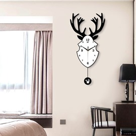 Black And White MDF Creative Elk Shape Battery Hanging Wall Clock