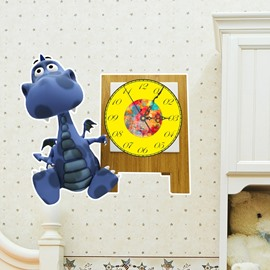 Blue Dinosaur Shaped 3D Decoration Art Wall Clock with Removable Sticker